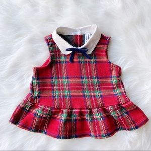 Janie and Jack Red Plaid Peplum Top Size 12-18M